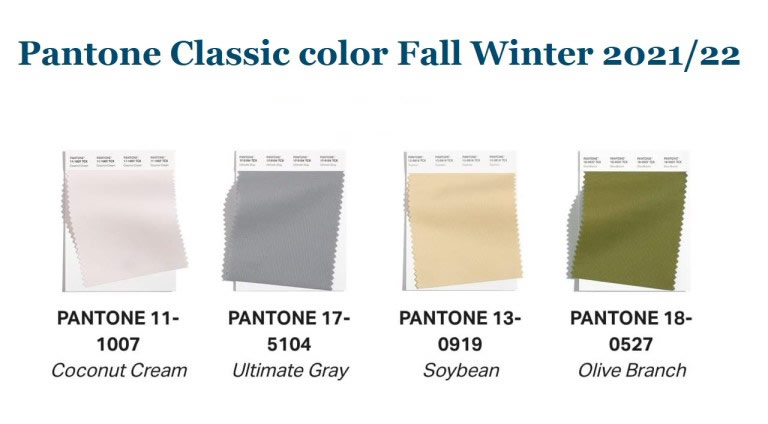 Pantone fashion color trends for autumn/winter 2021/2022